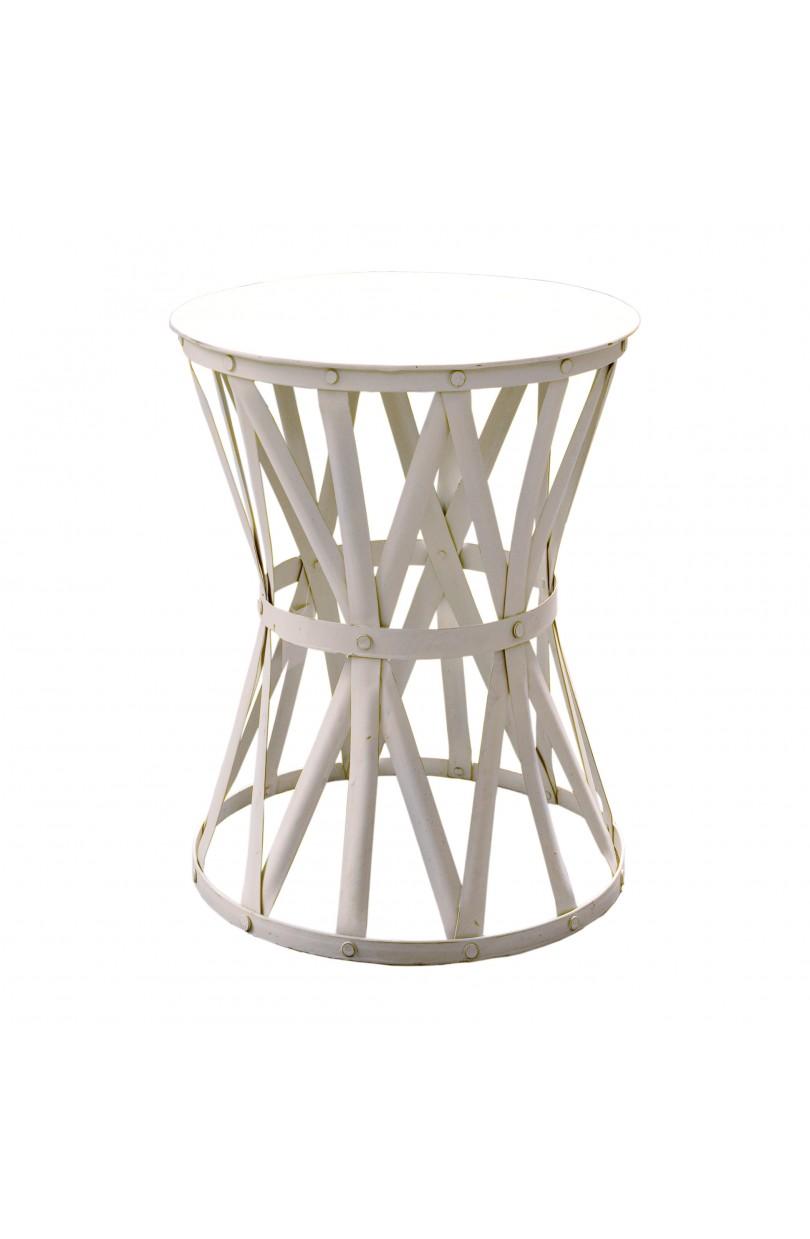 Mesa auxiliar peque a redonda con tiras blancas muebles - Mesas auxiliares pequenas ...