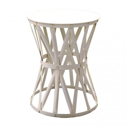 Round small side table with white strips