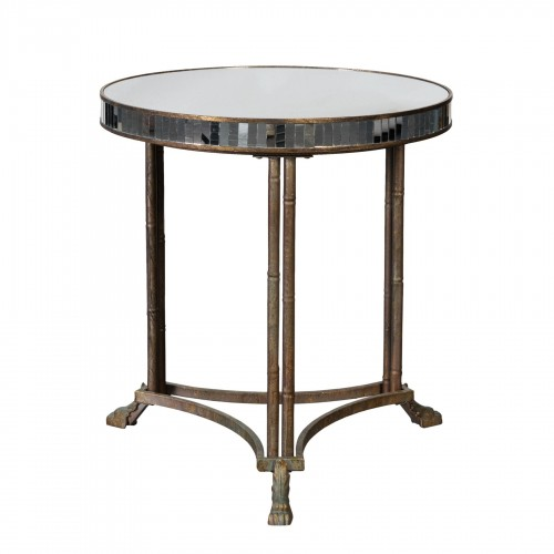 Iron side table with mirror on top