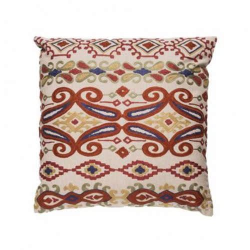 Embroidered cashmere cushion