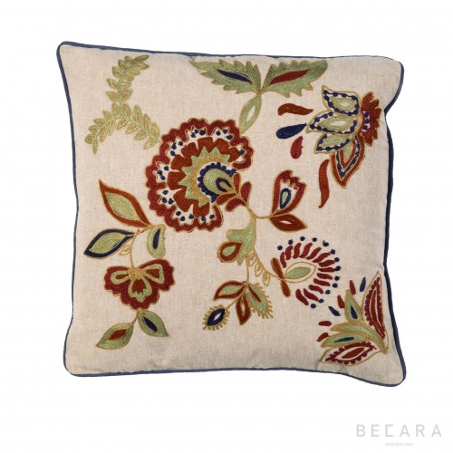 45x45cm floral embroidered cushion