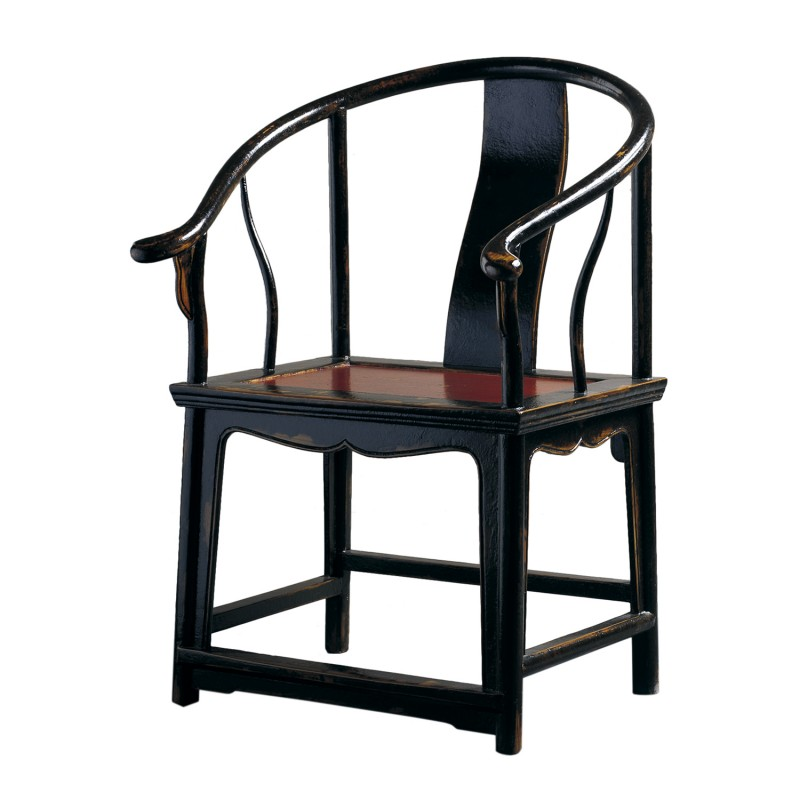 Pair of Chinese black and red armchair