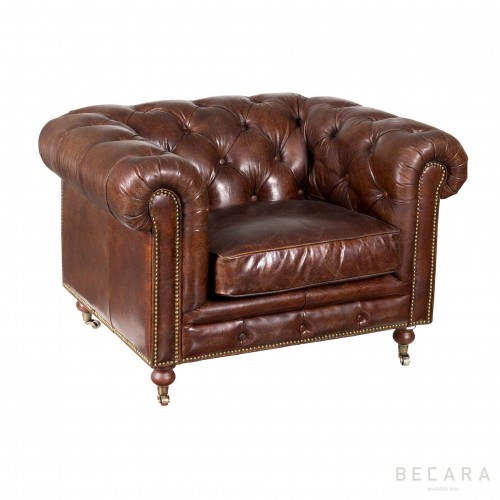 Brown leather Chester armchair