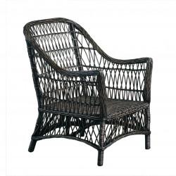 Black wicker armchair