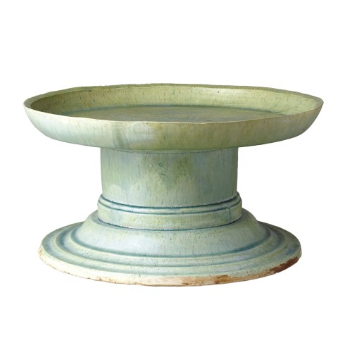 Green ceramic fruit bowl