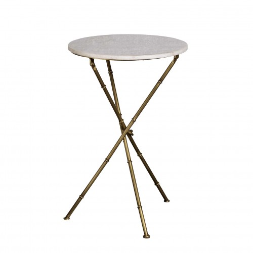 Marble top round sidetable with golden iron legs