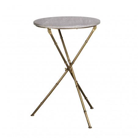 Mesa auxiliar redonda de mármol gris y hierro dorado