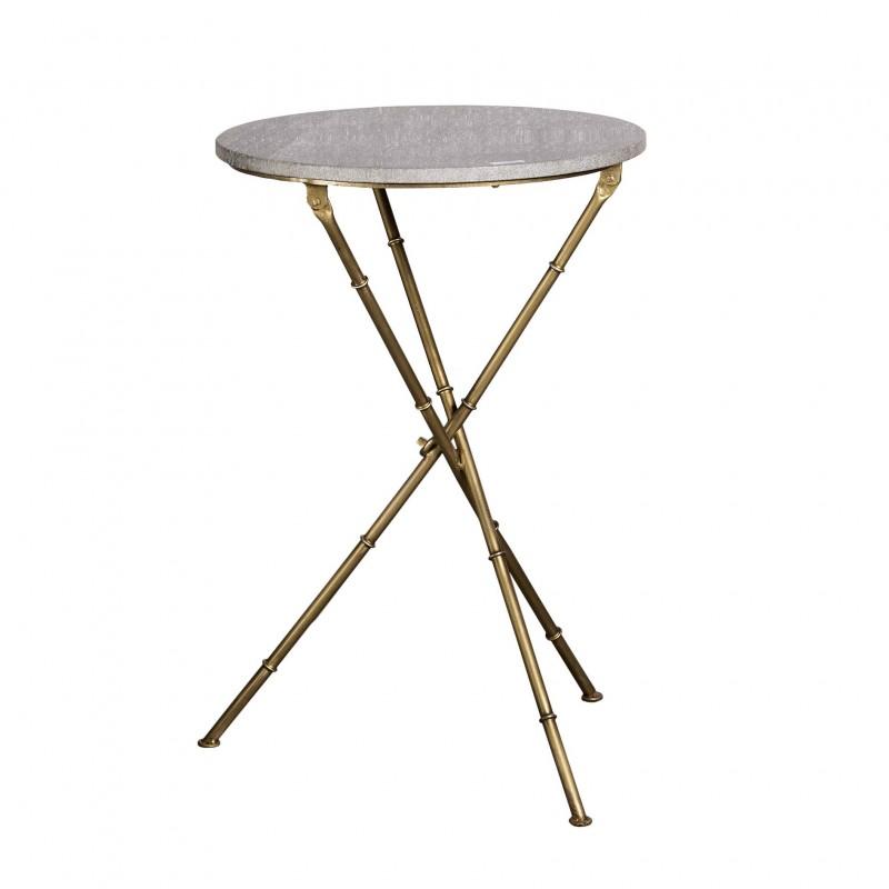 Mesa auxiliar redonda de mármol gris y hierro dorado - BECARA