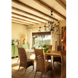 Teak wooden table lamp