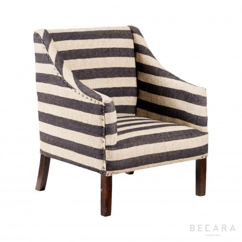 Striped upholstery armchair