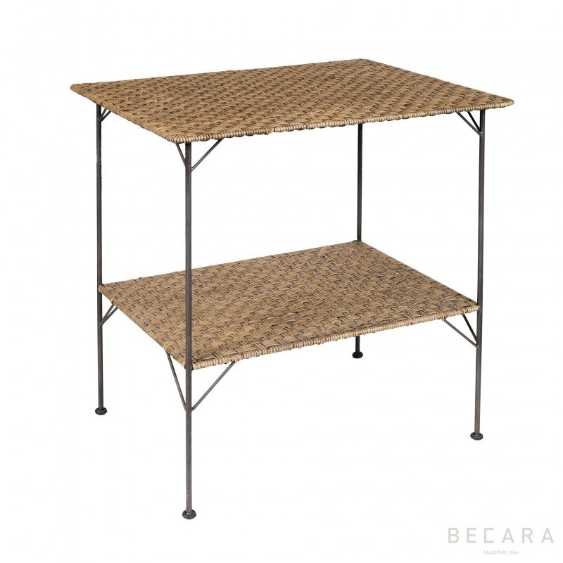 Mesa auxiliar Bristol de hierro y abacá - BECARA