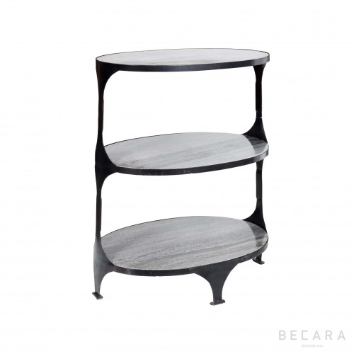 Oval shelves with marble boards