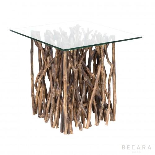 Mesa auxiliar palos con cristal