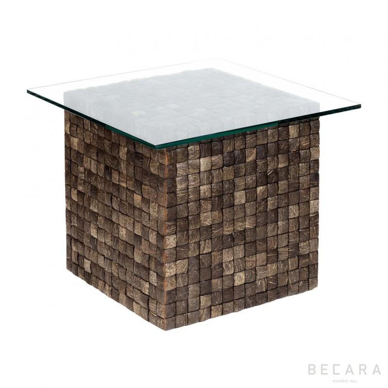 Mesa auxiliar de algas y cristal - BECARA