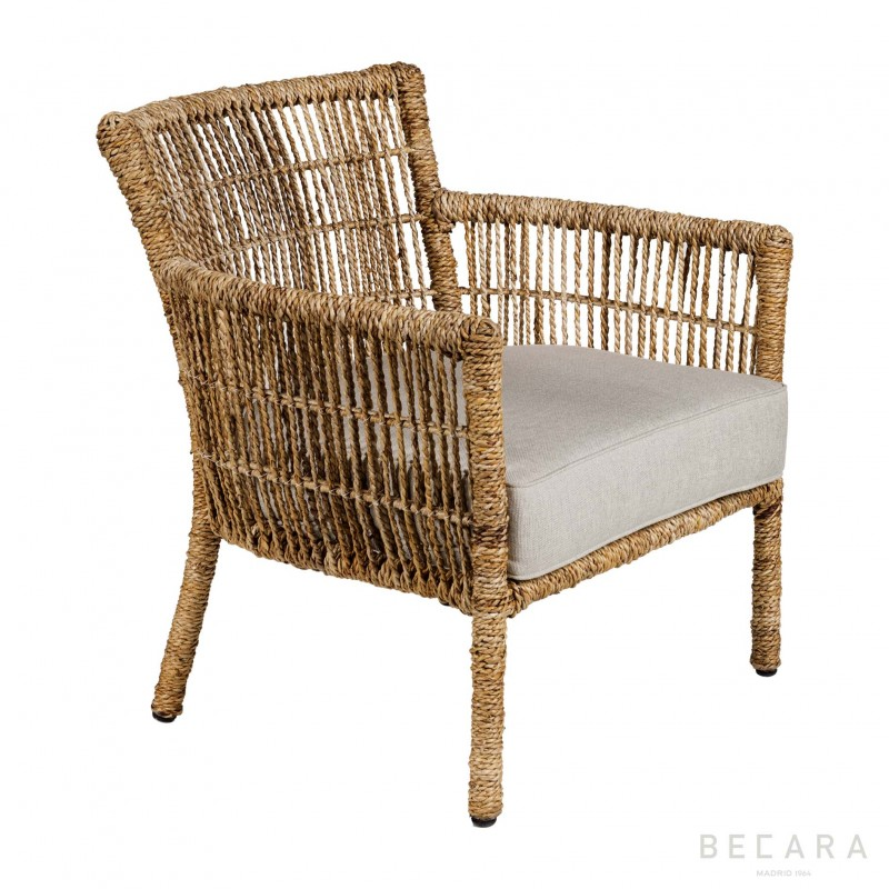 Armchair with ropes and cushion