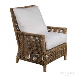Armchair with ropes and white cushions