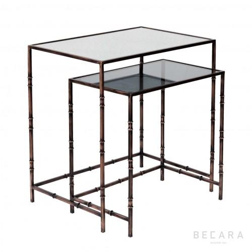 Set 2 mesas de centro Yarrow cobre - BECARA