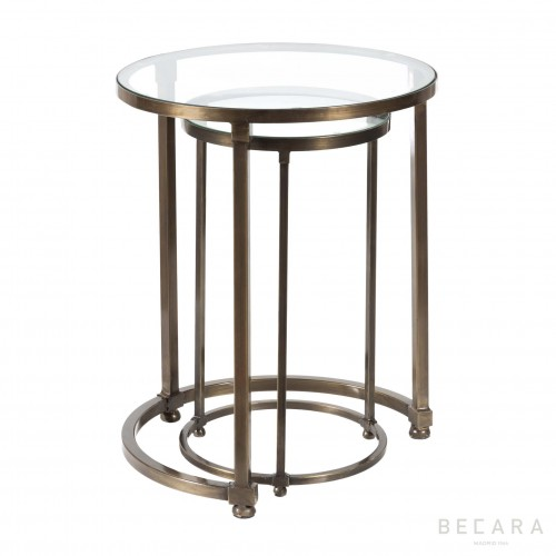 Set of 2 rounded nesting tables