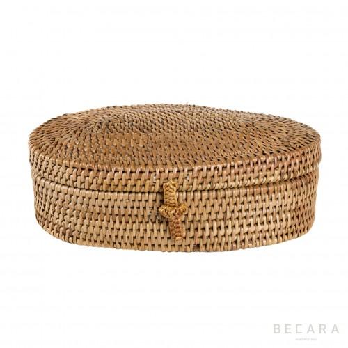 Rattan oval box