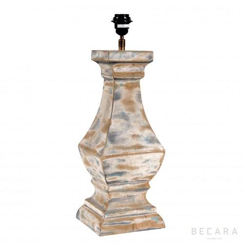 Lámpara de mesa madera beige y gris - BECARA