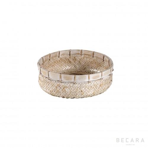 Medium white rattan basket