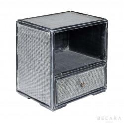 Mesa auxiliar de bambú gris azulado