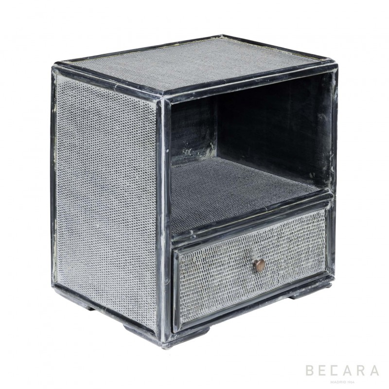 Blueish gray bamboo sidetable