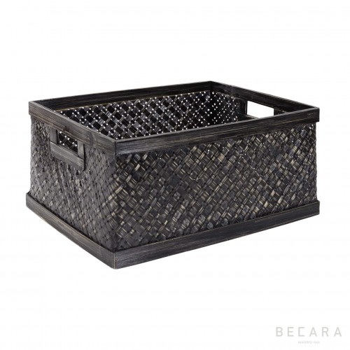 Big black rattan basket
