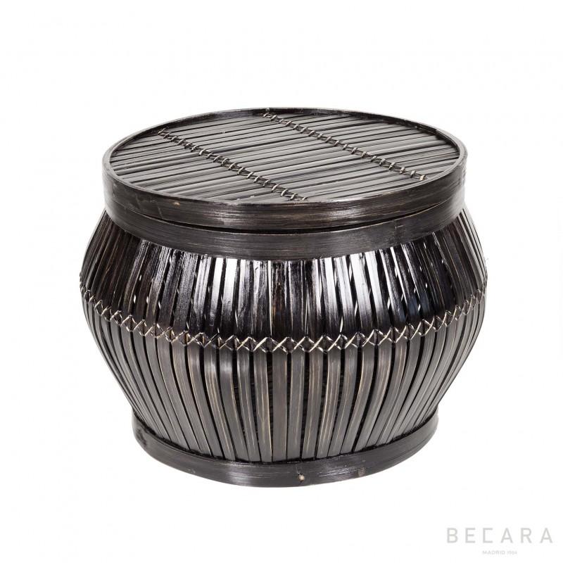 Taburete pequeño de bambú oscuro - BECARA