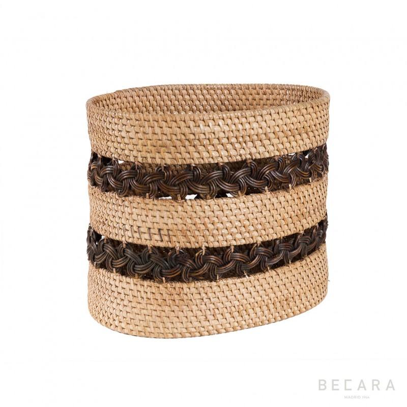 Papelera con trenzado marrón - BECARA