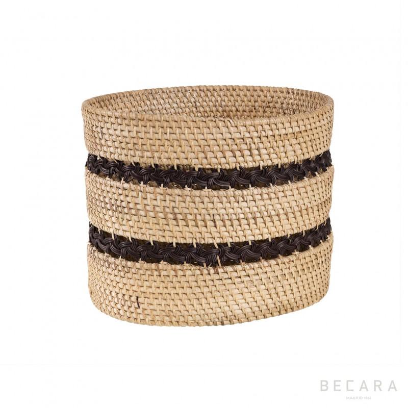 Papelera con trenzado negro - BECARA