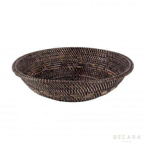 Bowl ratán marrón oscuro grande - BECARA