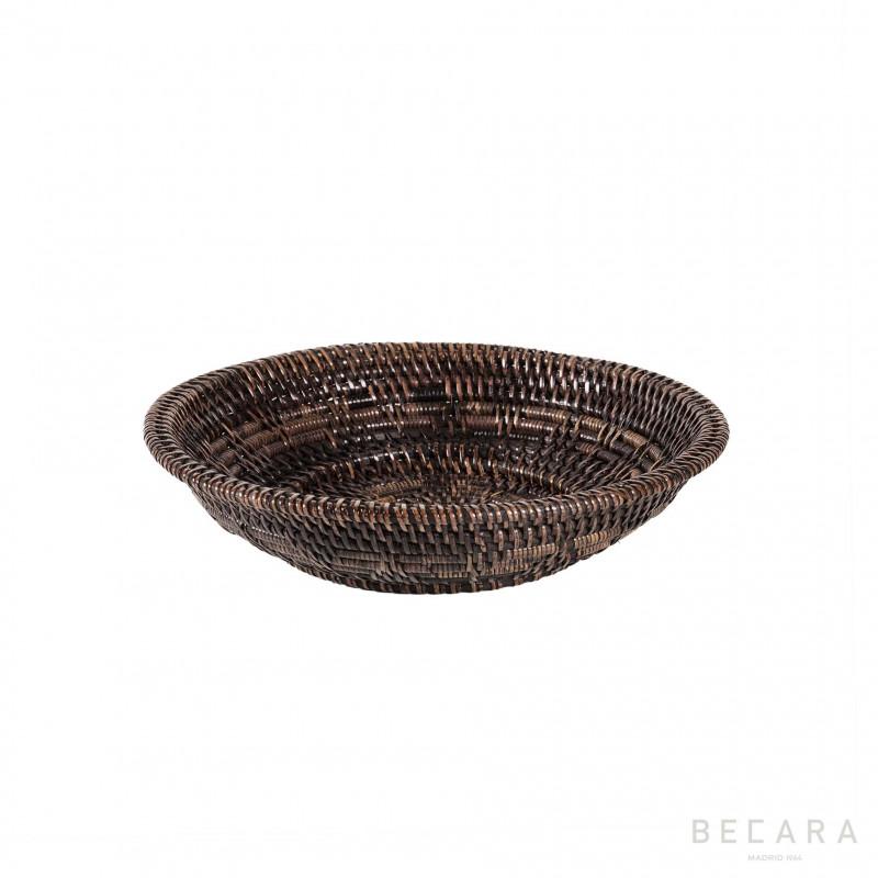 Bowl ratán marrón oscuro pequeño - BECARA