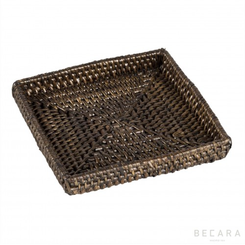Light brown square bread basket