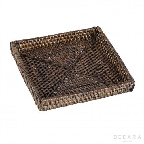 Dark brown square bread basket