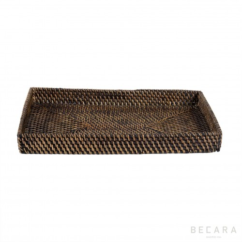 Medium black rattan tray without handles