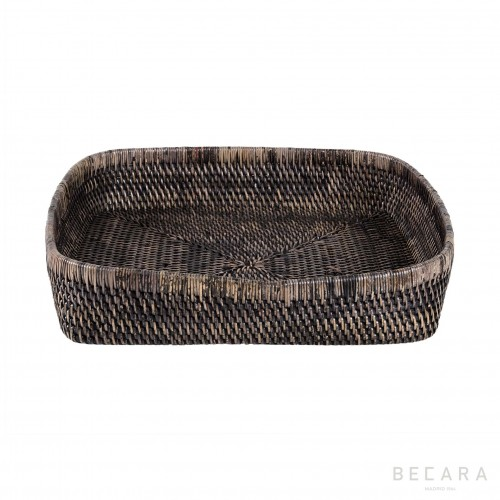Bowl rectangular ratán negro - BECARA