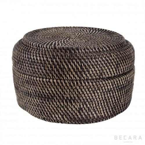 Caja redonda de ratán negro - BECARA