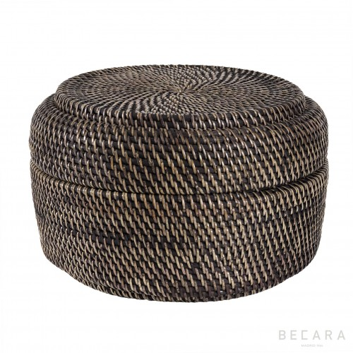 Black rattan rounded box