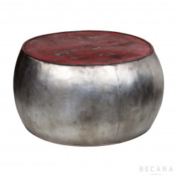 Mesa tambor plateada y roja