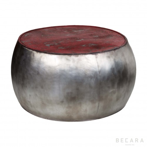 Silvered and red round table