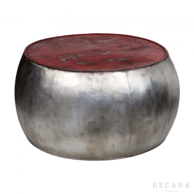 Mesa tambor plateada y roja - BECARA