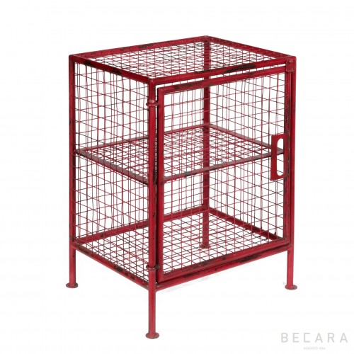 Red sidetable with grids