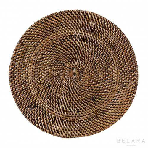Dark brown rattan shallow dish