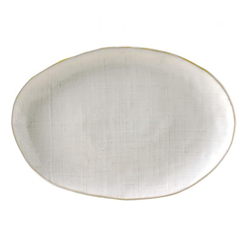 Fuente ovalada Linen blanco - BECARA