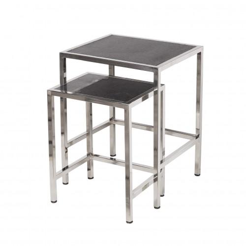 Set 2 mesas auxiliares acero y granito