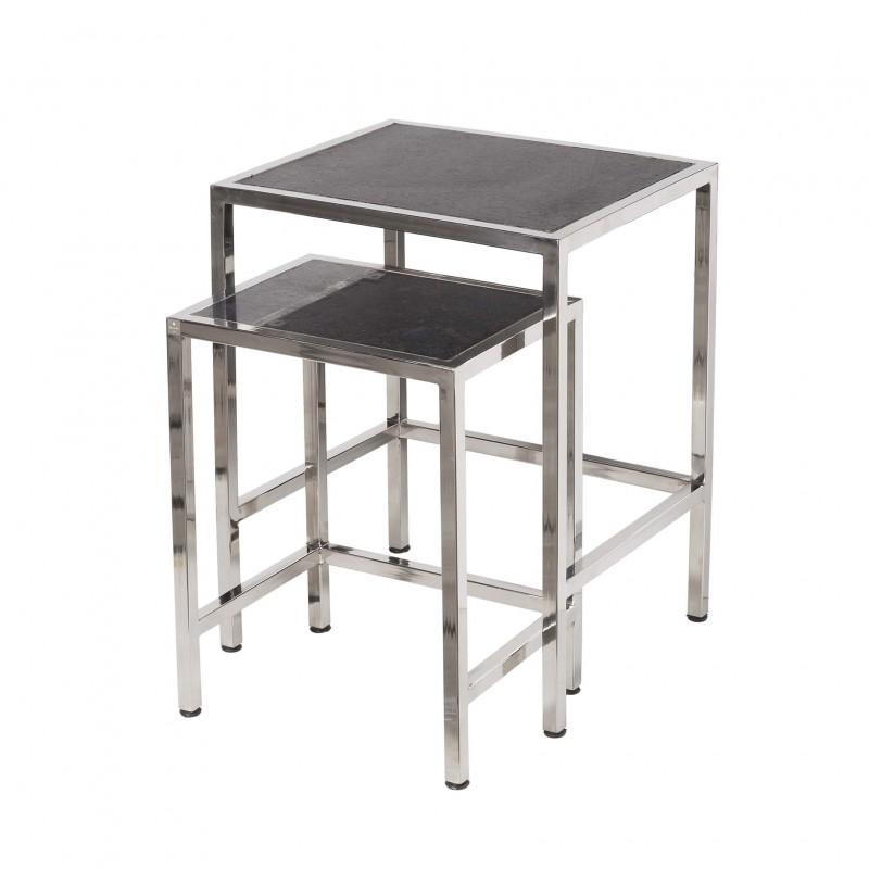 Set 2 mesas auxiliares acero y granito - BECARA