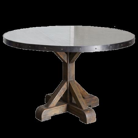 Mesa redonda de comedor con tapa de cinc