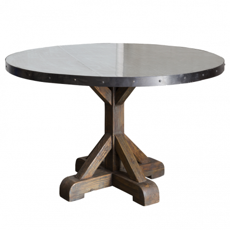 Round dinning table with zinc on top