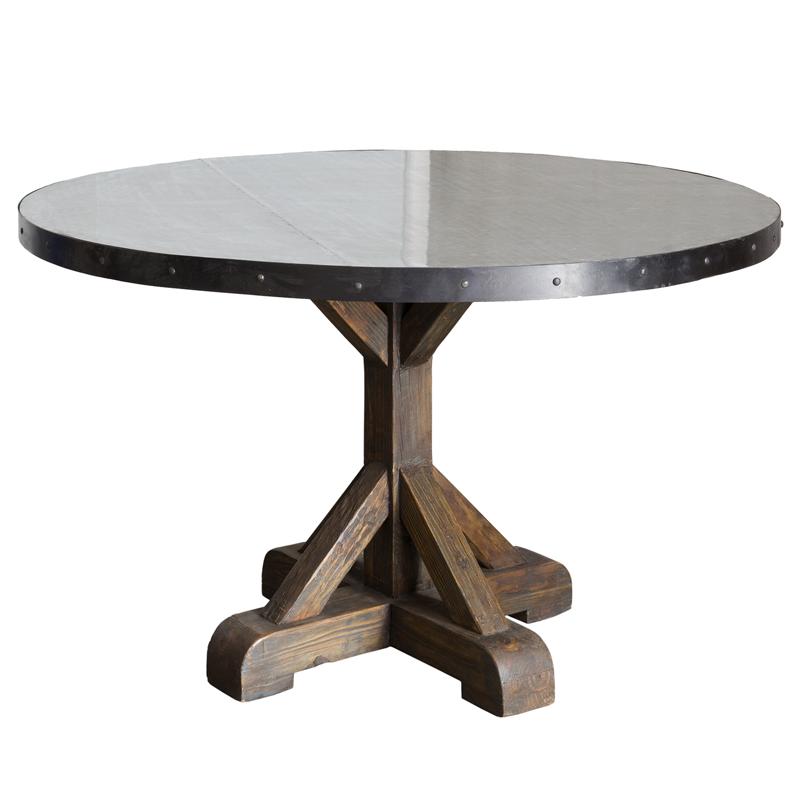 Mesa redonda de comedor con tapa de cinc - BECARA
